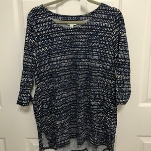 Pure Jill Cotton Pattern Top with 3/4 sleeves